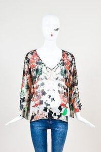 Roberto Cavalli Black Red Green Silk Chiffon Mixed Floral Print Top Multi-Color