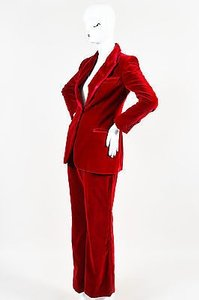 Gucci Gucci Red Velvet Satin Trim Wide Leg High Waist Tuxedo Pantsuit