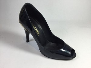 Chanel Patent Leather Peep Toe Midnight Blue Pumps