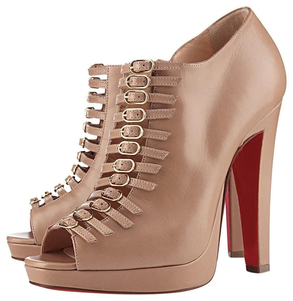 Christian Louboutin 120 Beige Leather Strappy Manon 120 Louboutin Mm Ankle Boots/Booties dbf5e2