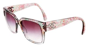 Chanel Clear multicolor Chanel interlocking CC tweed print sunglasses