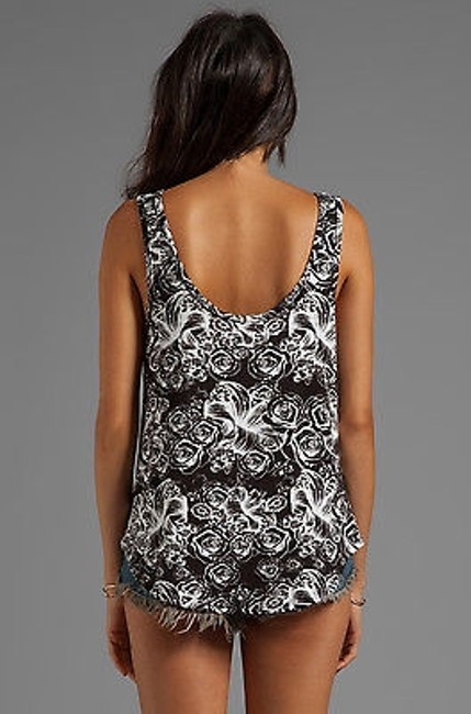 Lauren Moshi Scoop Tank In Skulls Rose Flowers T Shirt Black Image 1