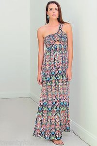 Multi-Color Maxi Dress by T-Bags Los Angeles One Shoulder Cut Out Print Maxi