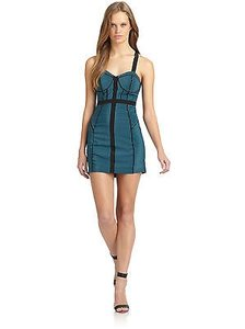 Rebecca Minkoff Clara Bustier In Black Teal Stripes Dress