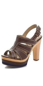 Splendid Honolulu Open Toe Leather Heel Walnut Brown Platforms
