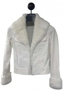 Arden B. Corduroy Rabbit Fur White Jacket