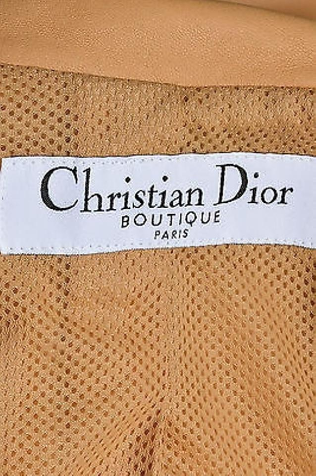 efe7f03dba9 Christian Dior Boutique Tan Lambskin Leather Cinched Pleat Detail ...