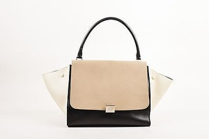 Céline Taupe Cream Leather Medium Trapeze Color Tote in Black