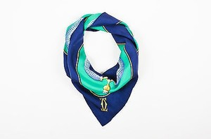 Cartier Must De Cartier Navy Blue Green Gold Silk Jewel Print Square Scarf