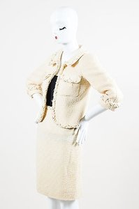 Chanel Chanel 07a Cream Tweed Gold Tone Chain Trim Tweed Jacket Skirt Set