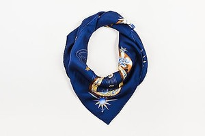 Hermès Hermes Navy Blue Multicolor Silk Quintessence By Zoe Pauwels 90cm Square Scarf