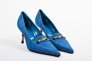 Casadei Tan Denim Bamboo Blue Pumps