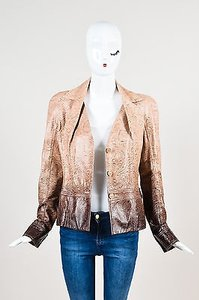 Dior Christian Boutique Ombre Leather Scroll Pattern Pink Jacket
