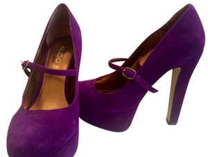 Aldo Mary Jane Pump Platform Suede Purple Platforms