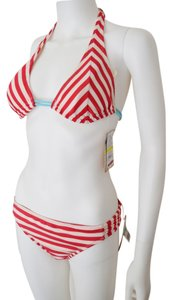 Hobie HOBIE | Red White Striped Nautical Bikini Side Tab Bottom (L), Halter Top (M)