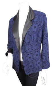 Chico's Chicos Blue Lace Black Satin Open Front Blazer Jacket