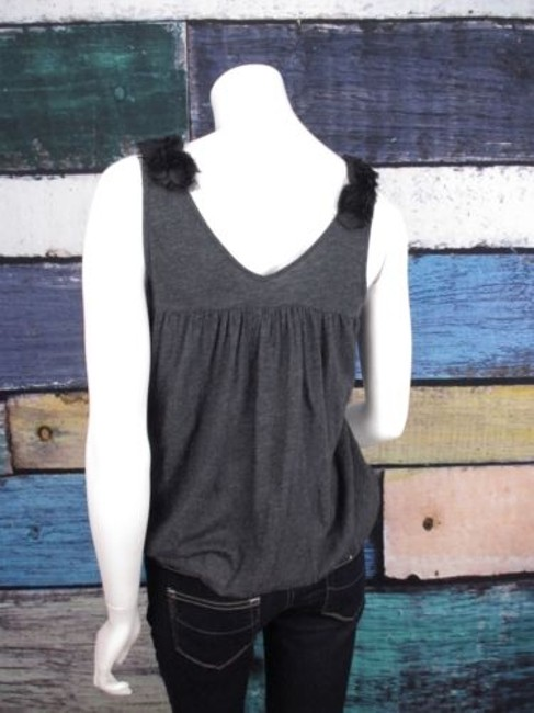 Anthropologie Tulle Floral Rosette Bubble Shirt Top Gray, Black Image 3