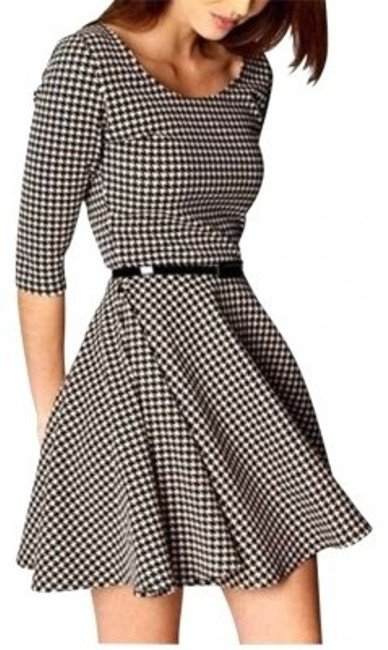 Boutique short dress Black & white Checker Skater Flared Size Small on Tradesy