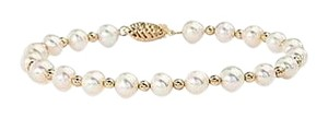 LoveBrightJewelry Freshwater Cultured White Pearl and Yellow Beads Bracelet with 14K Yellow Gold Filigree Clasp
