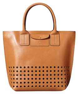 Orla Kiely Leather Resort Tote in Tan/Camel