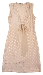 BCBGMAXAZRIA Blush Silk Polka Dot Dress