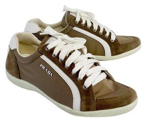 Prada Taupe & White Suede Leather Sneakers Boots