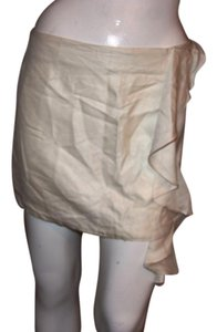 Monrow Mini Silk/wood Made In Usa Skirt BEIGE