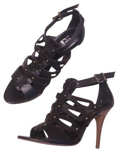 14th & Union Studded Gladiator Stiletto Strappy Black Gold Pumps