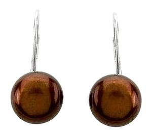 LoveBrightJewelry Sterling Silver Freshwater Chocolate Pearl Earrings 09.00 09.50 MM