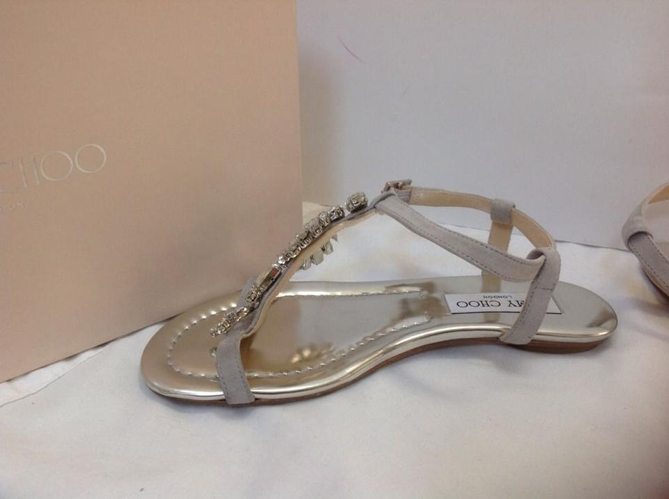 d73d75f32ed Jimmy Choo Silver Night Crystal Suede Sandals Flats Size US 6 ...