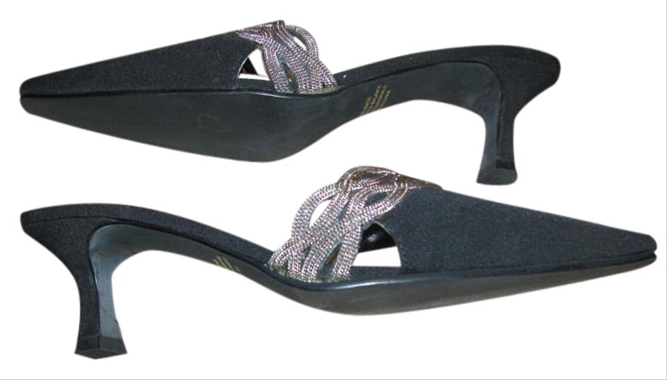 Madeline Black with with Black Silver Design Pumps 275391