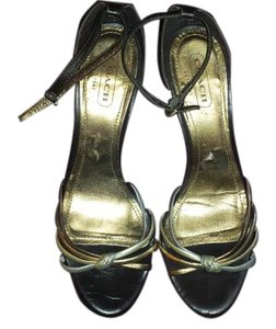Coach Leather Sandal Metallic Brown, bronze, gold, silver Wedges