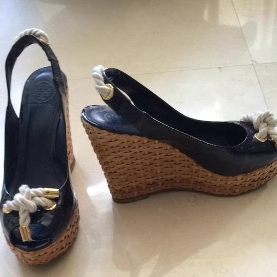 Tory Burch Navy Blue Patent Platforms