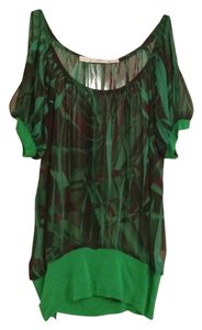 Gibson Cap Sleeve Open Shoulder Top green / multicolor