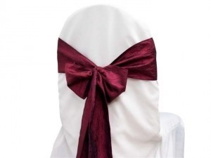 Burgundy/Wine Taffeta Crinkle Chair Sashes Other