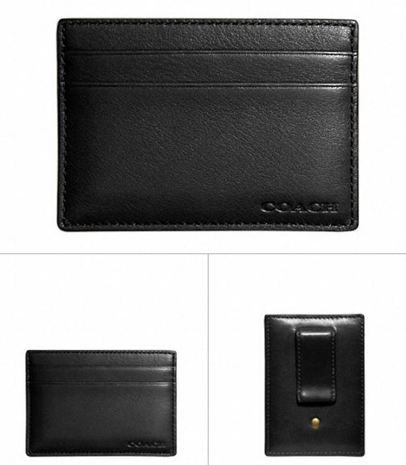 Coach black new mens leather business card case holder with money coach new coach mens leather business card case holder with money clip black colourmoves