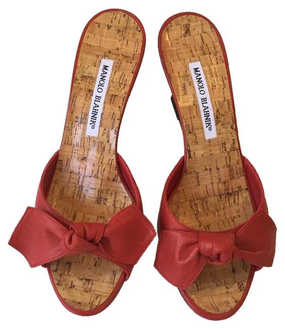 Item - Red Liss Bow-detail Slide Leather Wedges Size EU 37.5 (Approx. US 7.5) Regular (M, B)