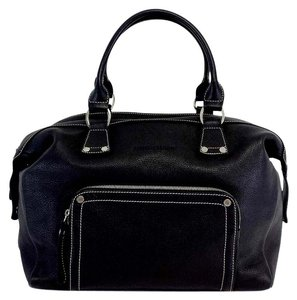Longchamp Black Leather Double Handle Hobo Bag