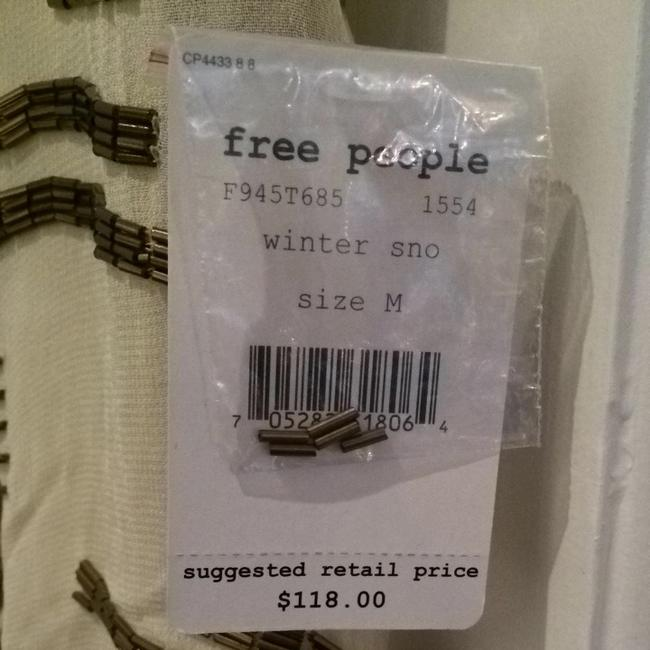 Free People Top Beige With Gold Beading