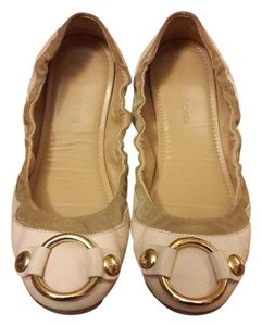 Sergio Rossi Leather Ballet Gold Nude Flats
