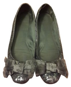 Kate Spade Ballet Sequin Leather Bows grey / silver Flats