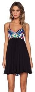 Mara Hoffman short dress Black Embroidered Mini Multi on Tradesy
