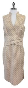 Kay Unger Pink Cream Taupe Tan Striped Dress