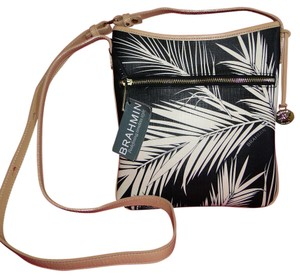 Brahmin Palm Lined Coated Cotton Leather Trim Cross Body Bag