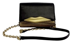 Diane von Furstenberg Black Gold Lips Mini Cross Body Bag
