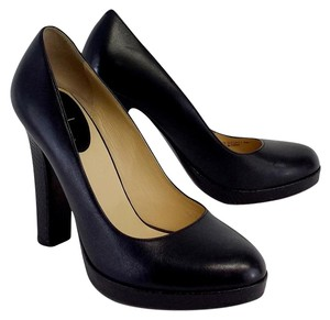 Cole Haan Black Leather Platform Scale Pumps