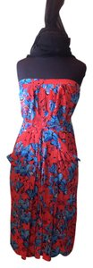 Leifsdottir short dress Blue black coral floral on Tradesy