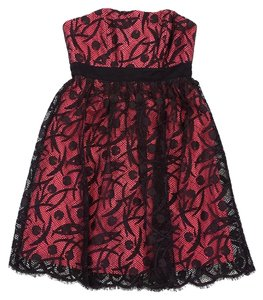 MILLY short dress Dark Brown Pink Lace Overlay on Tradesy
