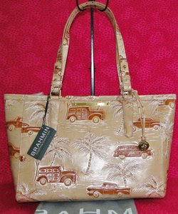 Brahmin Arno Copa Cabana Woodys Palm Tote in Beige