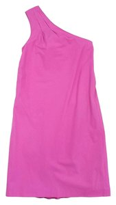 Vince short dress Hot Pink Cotton One Shoulder on Tradesy